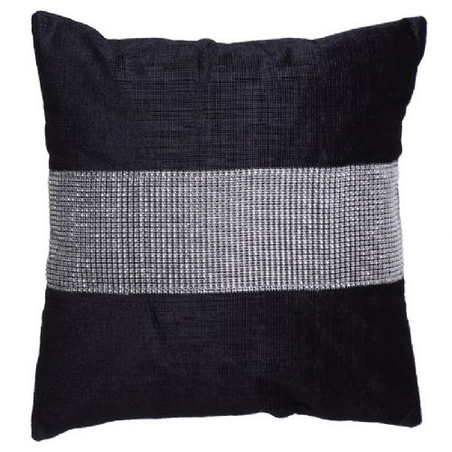 STUNNING DIAMANTE VELVET CUSHION BLACK COLOUR